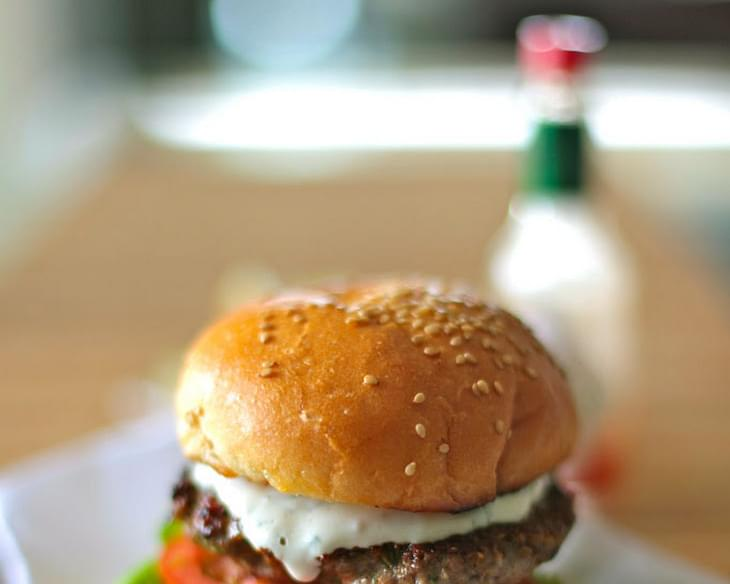 Chicken Burger with Moroccan Spices & A Tahina, Mint n Yogurt Sauce