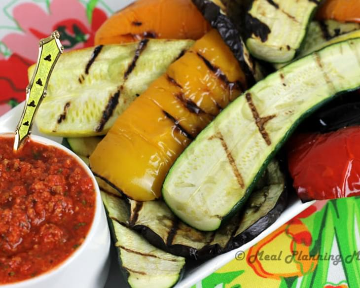 Grilled Vegetables with Romesco Dip