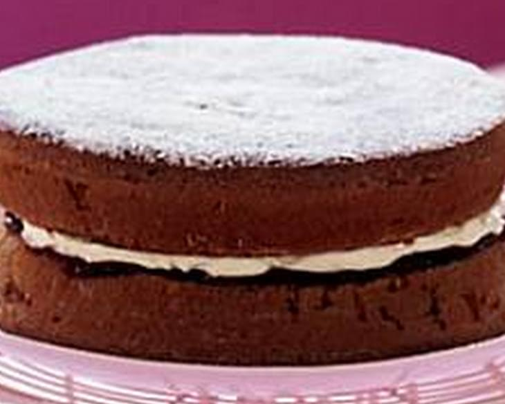 Chocolate victoria sponge cake recipe for Chocolate sponge ingredients