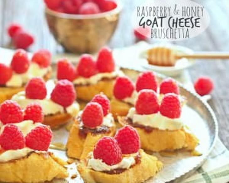 Raspberry and Honey Goat Cheese Bruschetta
