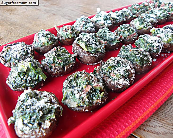 Kale Spinach Bacon Cheese Stuffed Mushrooms