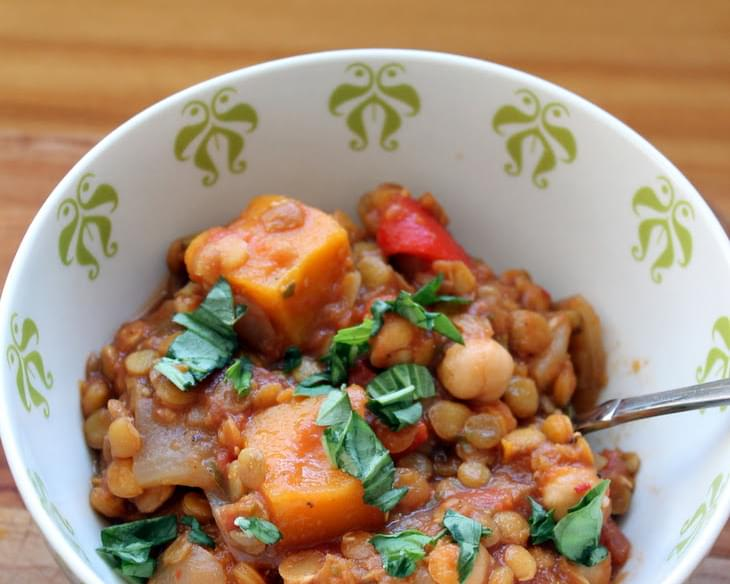Butternut Squash, Chickpea & Lentil Moroccan Stew