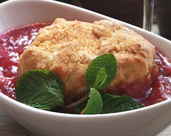 Strawberry-Rhubarb-Mint Cobbler