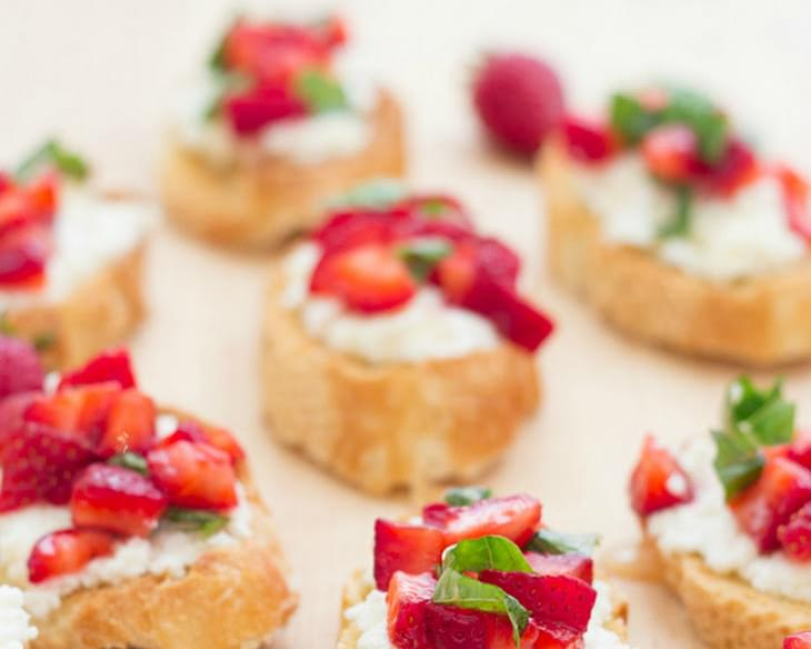 Strawberry-Basil Bruschetta with Fresh Ricotta