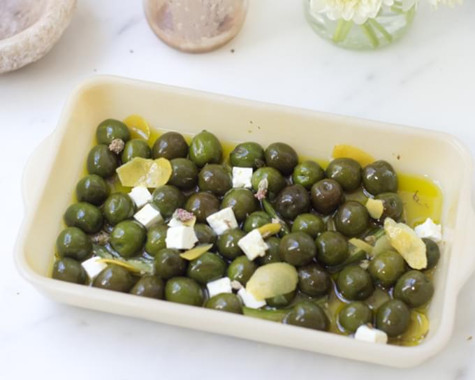 Gin-marinated Olives