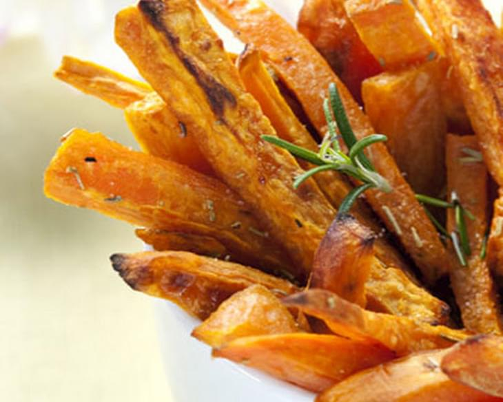Baked Sweet Potato Fries with Buffalo Dipping Sauce
