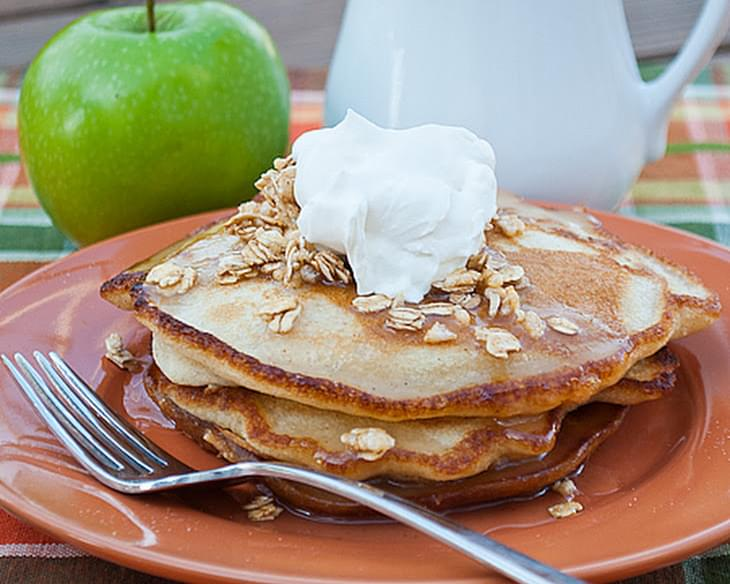 Cinnamon Apple Pancakes with Apple Cider Syrup