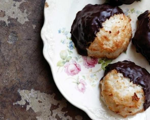 Coconut Macaroons Dipped in Chocolate