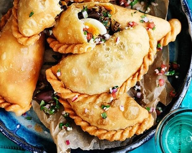 Beef And Egg Empanadas With Pebre Dipping Sauce