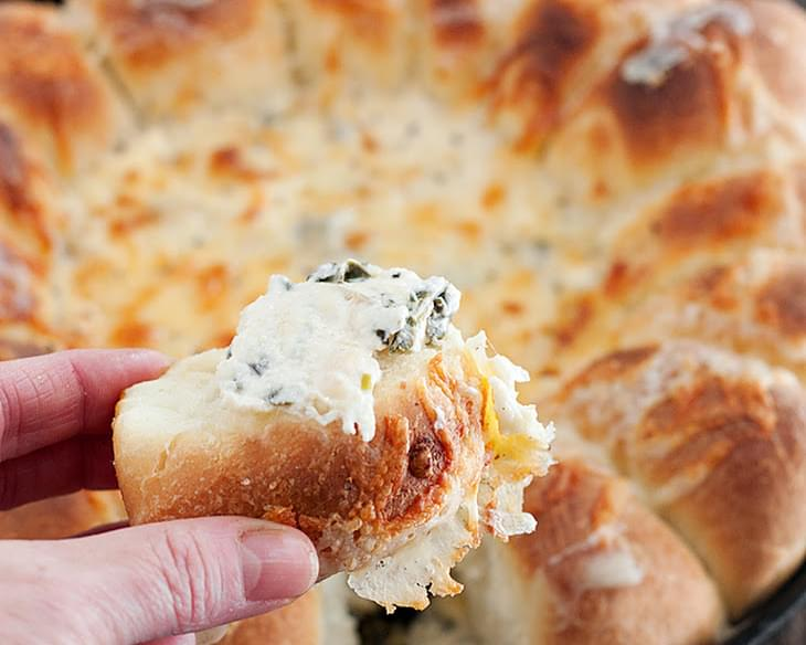 Warm Skillet Bread with Artichoke Spinach Dip
