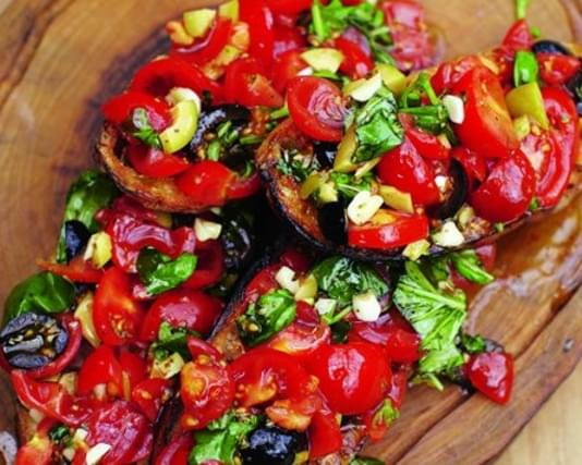 Bruschetta With Tomatoes, Mozzarella And Olives