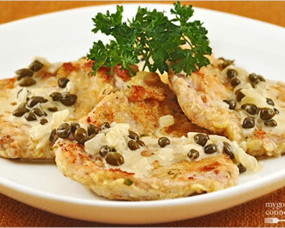 Pork Scallopine with Dijon-Caper Cream Sauce