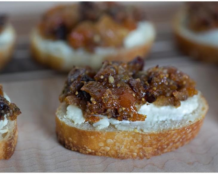 Apricot and Fig Tapenade on Goat Cheese Crostini