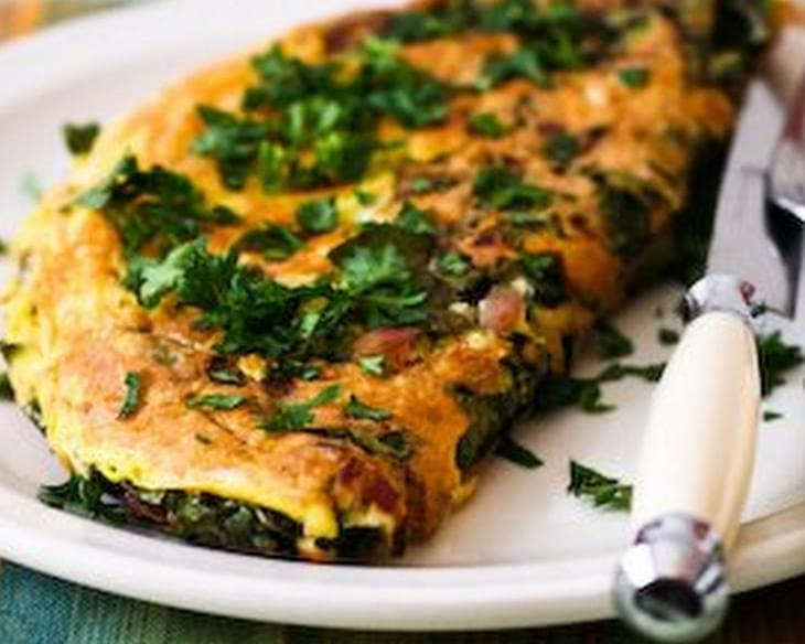 Red Kale and Cheese Omelet for Two Recipe