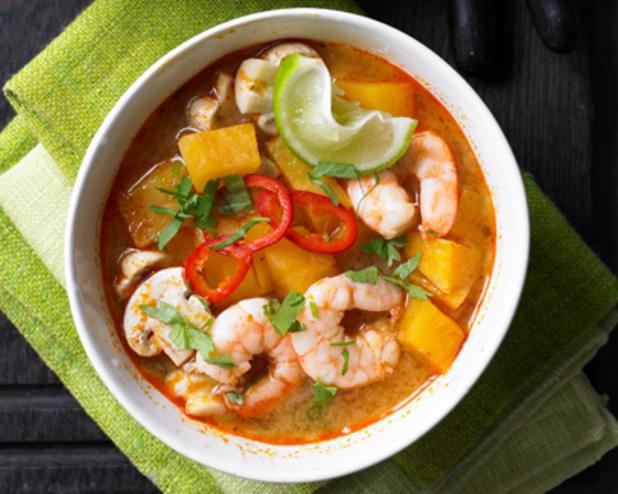 Sweet Potato And Prawn Tom Yum Soup Recipe