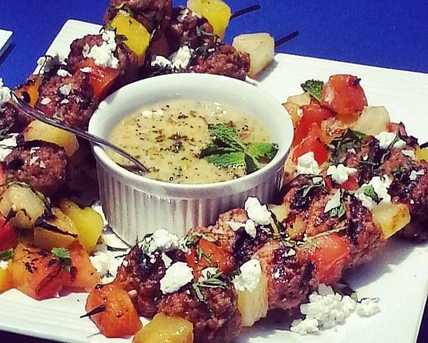 Harissa Veal Meatball~Fruit Kabobs with Greek Yogurt Mint Sauce & Goat Cheese