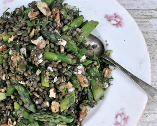 Lemony Lentil Salad with Asparagus and Spring Herbs