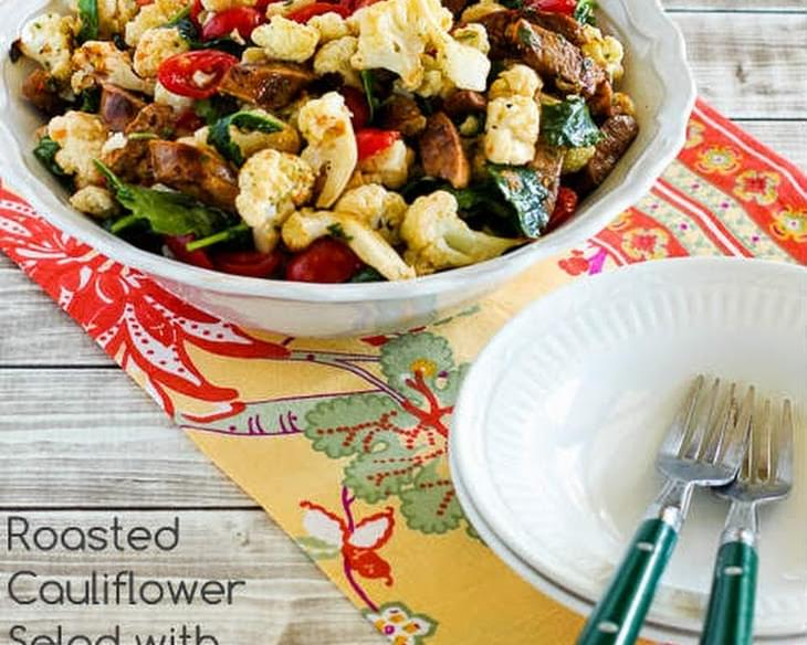 Roasted Cauliflower Salad with Italian Sausage, Tomatoes, Kale, and Basil Vinaigrette