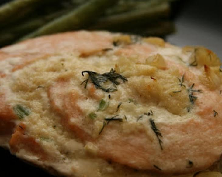 Crab Stuffed Salmon Pinwheels With A Garlic Dill Cream Sauce