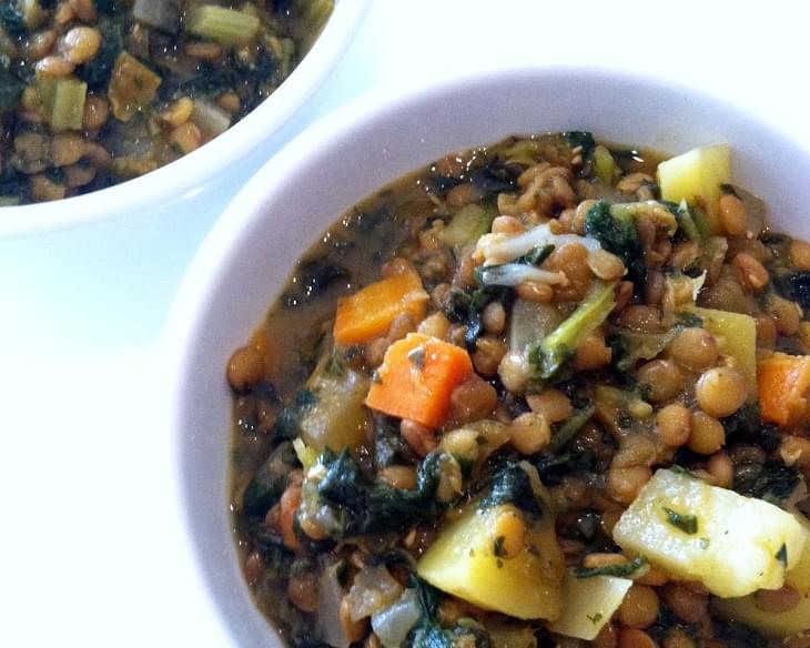 Hearty Lentil, Kale & Potato Soup