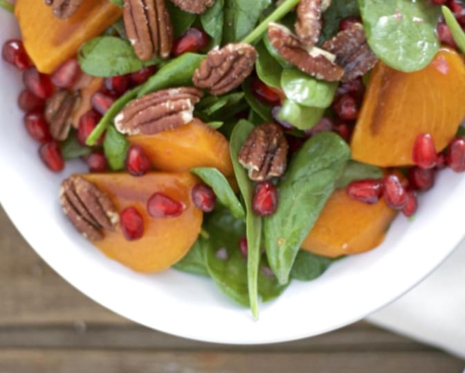 Persimmon and Pomegranate Salad with Pecans
