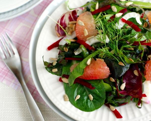 Winter Greens with Fennel, Grapefruit and Beet