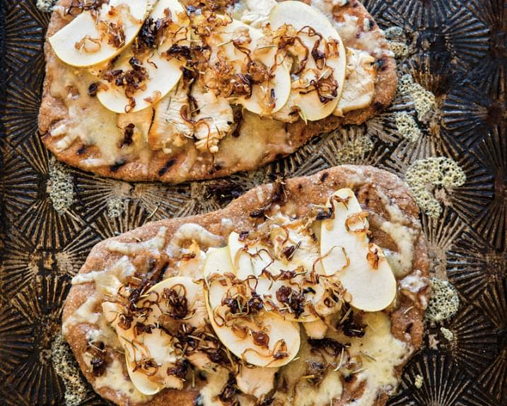 Chicken and Apple Flatbread with Caramelized Shallots