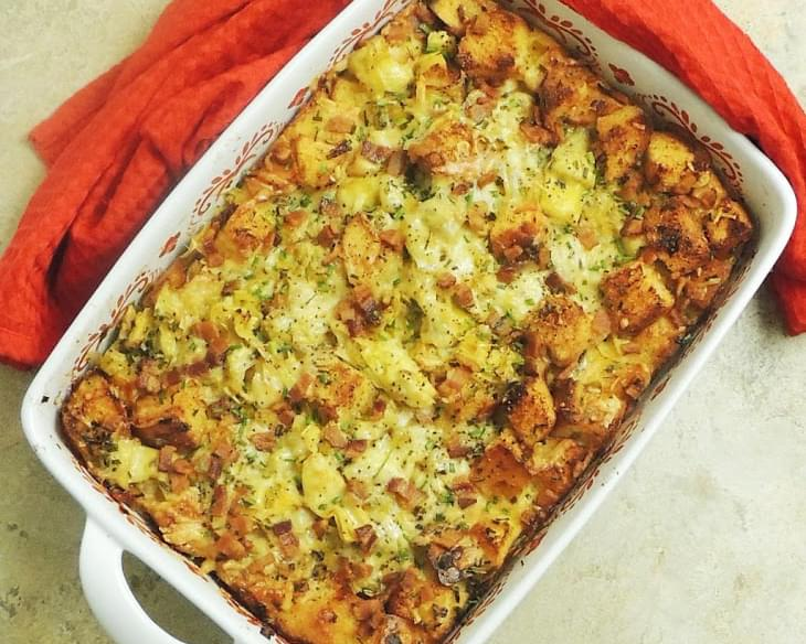Bacon, Leek, and Artichoke Bread Pudding