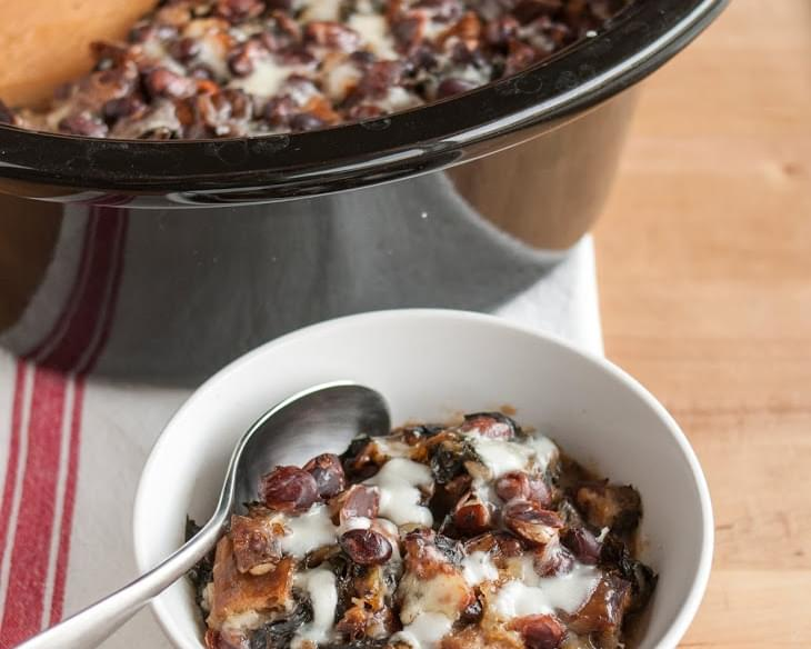 Cheesy Panade with Swiss Chard, Beans & Sausage