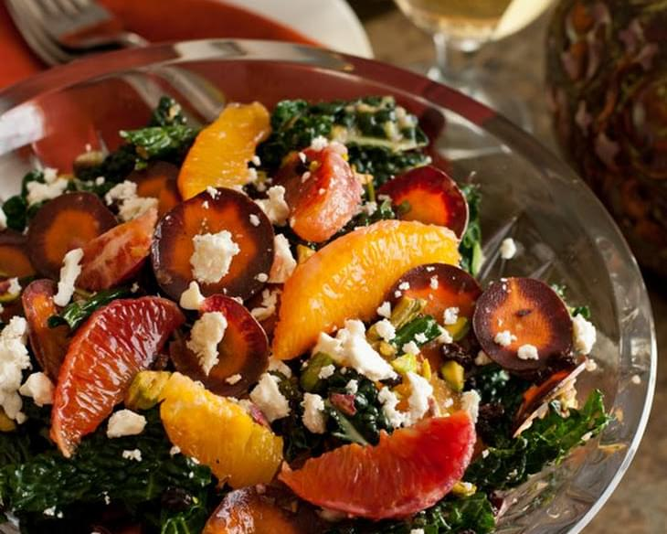 Tuscan Kale Salad with Oranges, Currants and Feta
