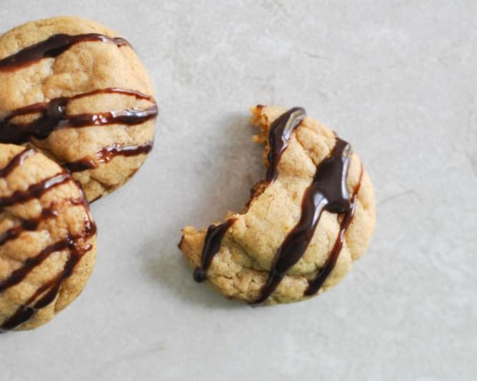 Fudge Striped Pumpkin Peanut Butter Cookies