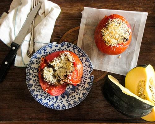 Quinoa Risotto Baked Tomatoes