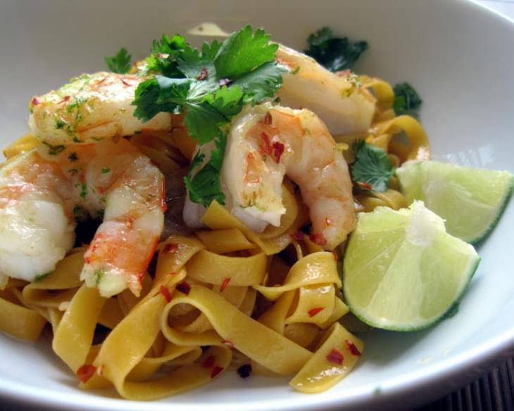 Noodles with Sauteed Shrimp and Cilantro