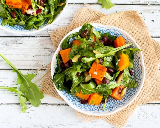 Roasted Butternut Squash Salad with Sriracha Lime Dressing