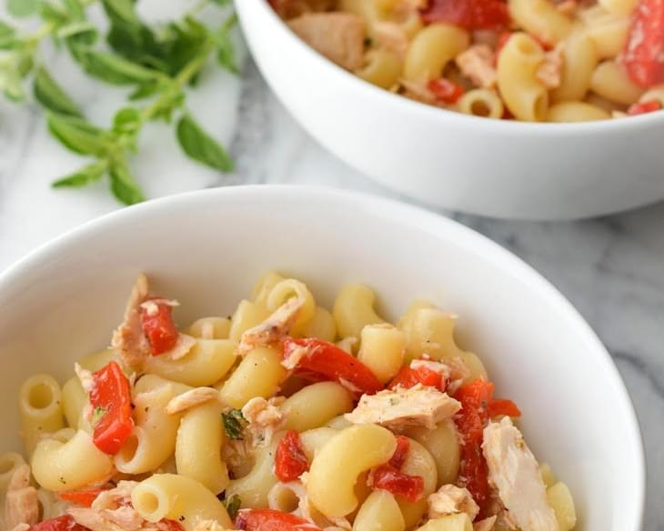 Pasta Salad with Roasted Peppers, Tuna, and Oregano Vinaigrette