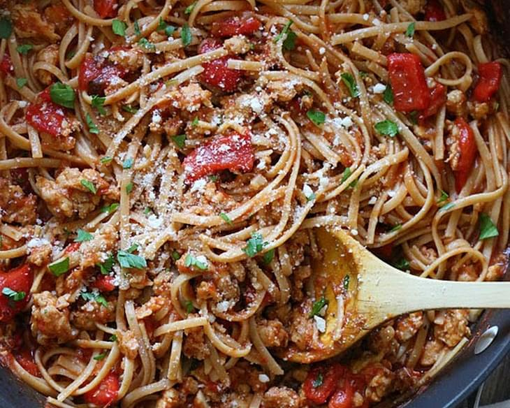 Spicy Whole Wheat Linguini with Sausage and Roasted Peppers