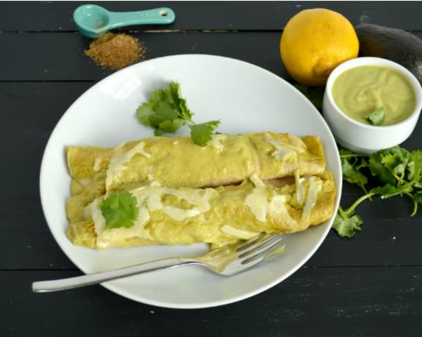 Creamy Avocado Chicken Enchiladas