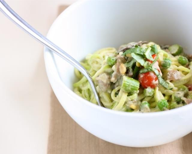 "Creamy Pesto ""Pasta"" with Spring Vegetables"