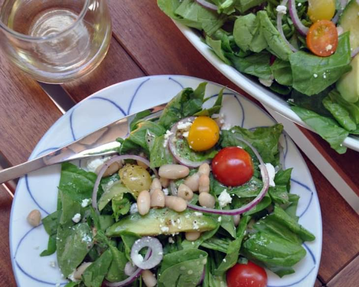 Spinach White Bean Salad with Meyer Lemon Vinaigrette