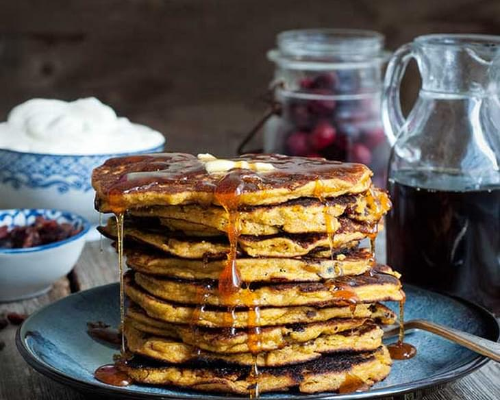 Gluten Free Pumpkin and Cranberry Pancakes