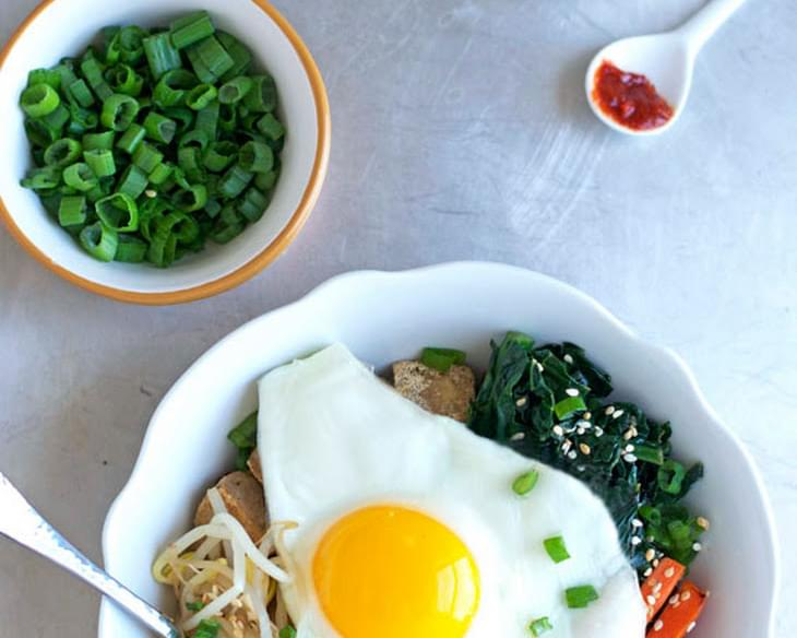 Vegetarian Bibimbap with Crispy Tofu and Quinoa