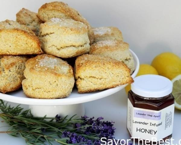 Lemon Buttermilk Scones with Lavender Infused Honey
