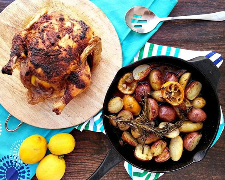 Spiced Roasted Chicken with Lemon Garlic Potatoes