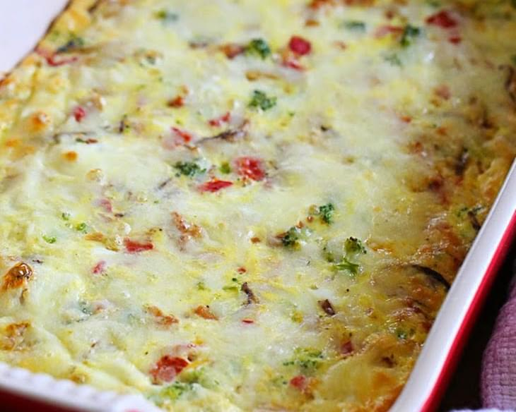 Sausage, Cheese and Veggie Egg Bake