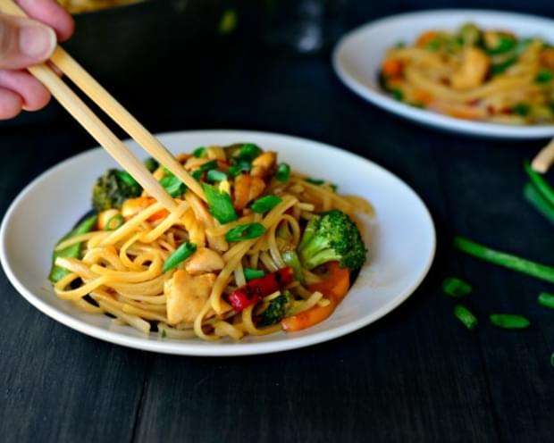 Honey Ginger Chicken Noodle Stir-Fry