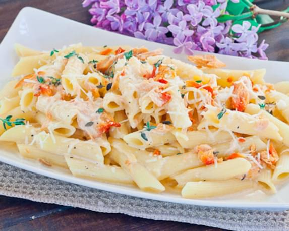 Penne with Cream and Smoked Salmon