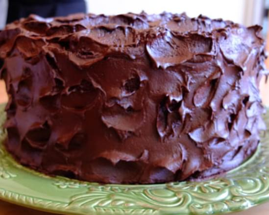 Devil's Food Cake with Pinot Noir Chocolate Frosting
