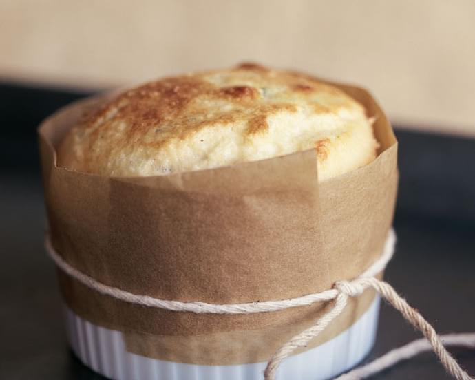 Goat Cheese and Chive Soufflé