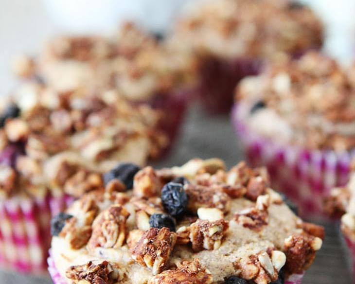 Whole Wheat Muffins With Mixed Berries And A Crunchy Granola Topping!