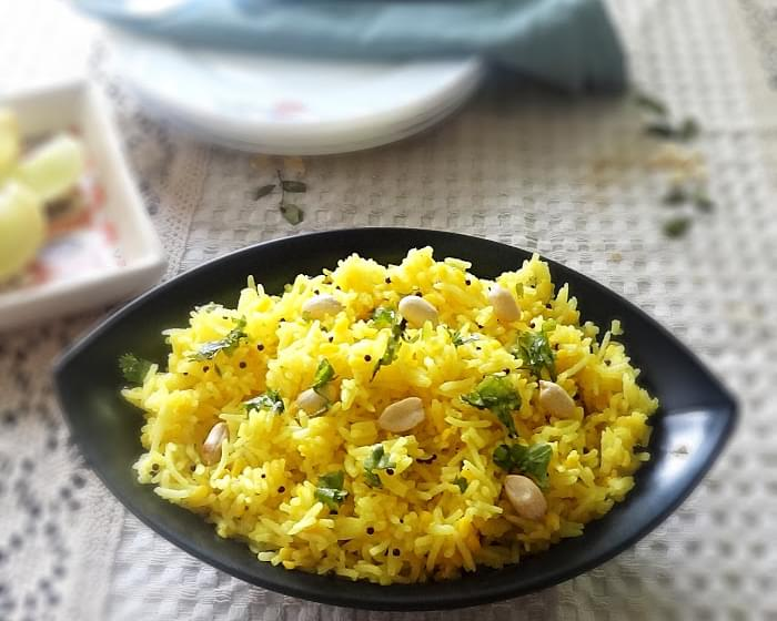 Easy lemon rice recipe - A delicious flavorful tangy lemon rice